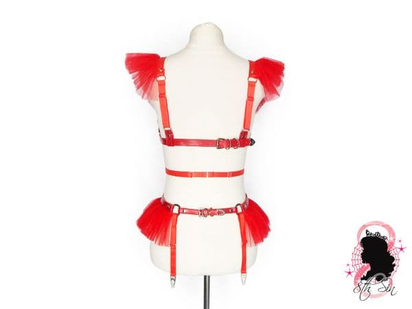 Red Faux Leather Caged Mesh Harness Set